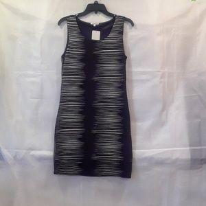 Mystree Black & White Geometric Sleeveless Dress